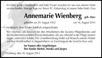 Zur Gedenkseite von Annemarie
