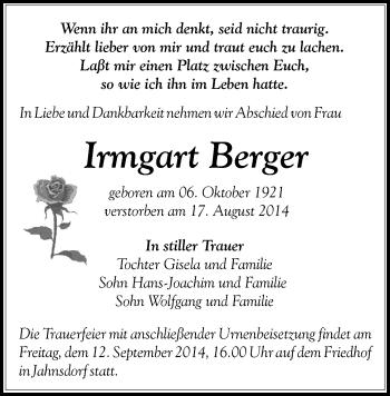Zur Gedenkseite von Irmgart