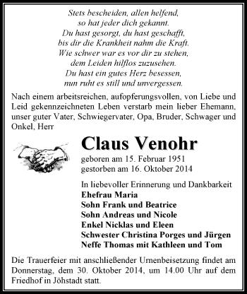 Zur Gedenkseite von Claus