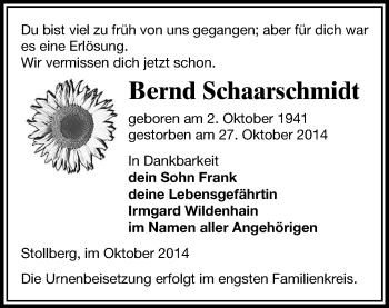 Zur Gedenkseite von Bernd