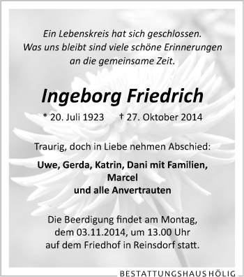 Zur Gedenkseite von Ingeborg
