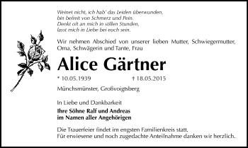 Zur Gedenkseite von Alice