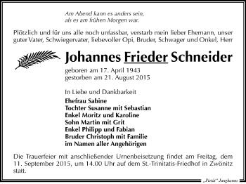 Zur Gedenkseite von Johannes Frieder